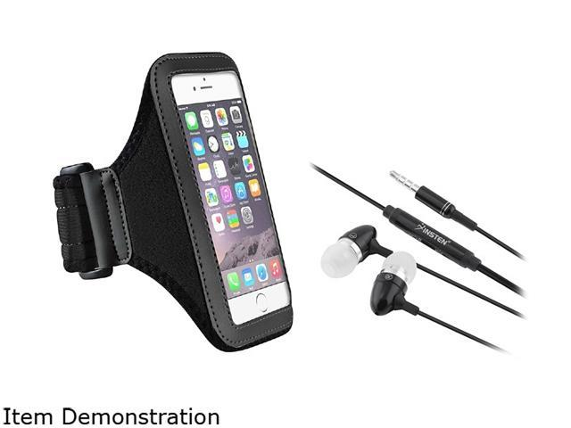 Insten Black Sportband Case Cover + In-ear (w/ on-off) Stereo Headsets for Apple iPhone 6 (4.7-inch) 1935965