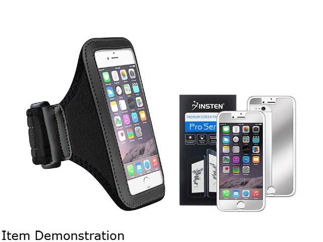 Insten Black Sportband Case Cover + Mirror Screen Protector for Apple iPhone 6 (4.7-inch) 1935961