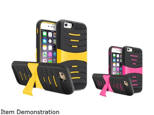 Insten Black Skin/ Yellow Hard, Black Skin/ Hot Pink Hard 2 packs of w/ Stand Hybrid Case Cover for Apple iPhone 6 (4.7-inch) 1936262
