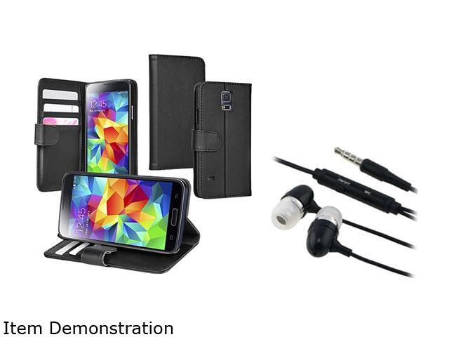 Insten Black Stand Leather Case with Card Slot + Black In-ear Stereo Headset for Samsung Galaxy S5 SV 1830321