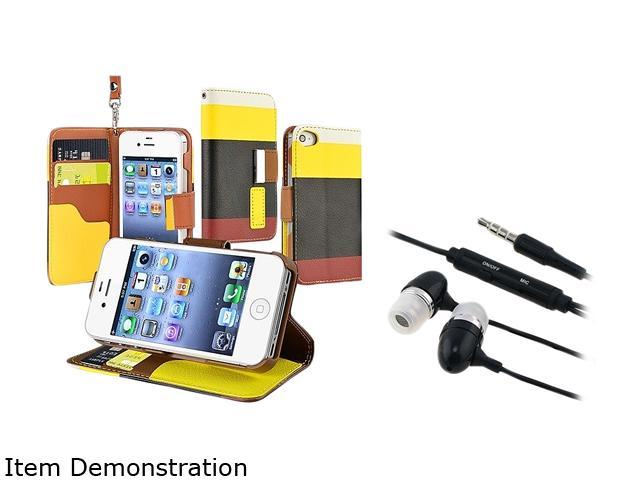 Insten Yellow / Black / Red Leather Case + Black In-ear (w/on-off) Stereo Headsets compatible with Apple iPhone 4 / 4S