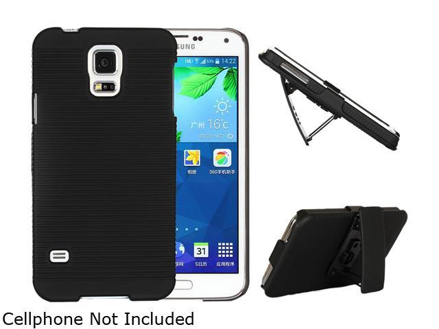 GearIT Ultra Slim hell Case Cover with Holster Kickstand for Samsung Galaxy S5, Black