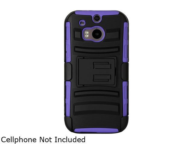 GearIT Purple [Hybrid Armor] Dual Layer Cover Stand with Holster for HTC One M8 GI-HTC-M8-HYB-DL-PR