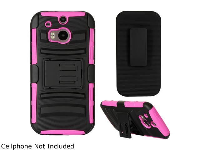 GearIT Magenta Hybrid Armor Dual Layer Cover Stand with Holster for HTC One M8 GHTCM8HYBDLMA