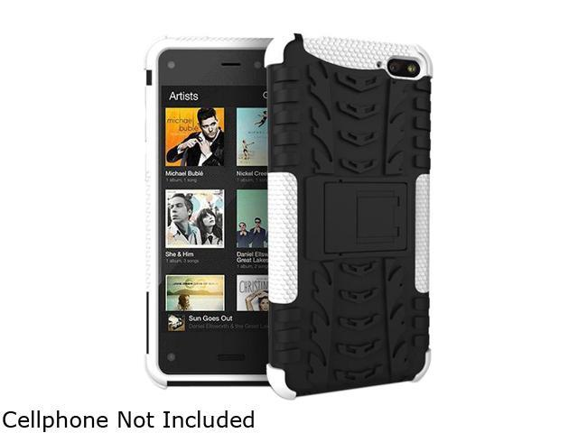 GearIT White Heavy Duty Armor Hybrid Rugged Stand Case for Amazon Fire Phone GFIREMP47HYD8WH