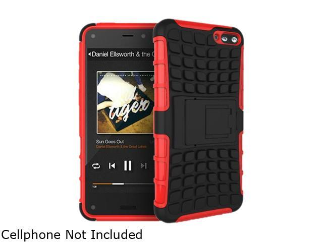GearIT Red Heavy Duty Armor Hybrid Rugged Stand Case for Amazon Fire Phone GFIREMP47HYD9RD