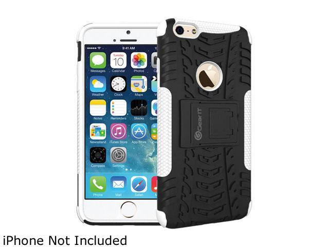 GearIT White Heavy Duty Armor Hybrid Rugged Stand Case for Apple iPhone 6 4.7
