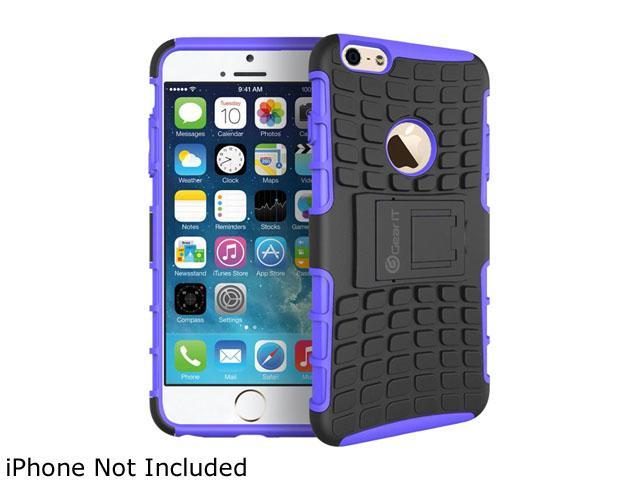 GearIT Purple Heavy Duty Armor Hybrid Rugged Stand Case for Apple iPhone 6 4.7
