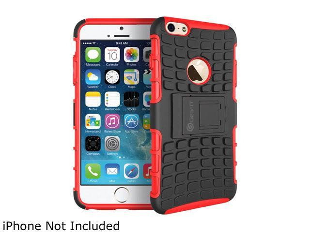 GearIT Red Heavy Duty Armor Hybrid Rugged Stand Case for Apple iPhone 6 4.7