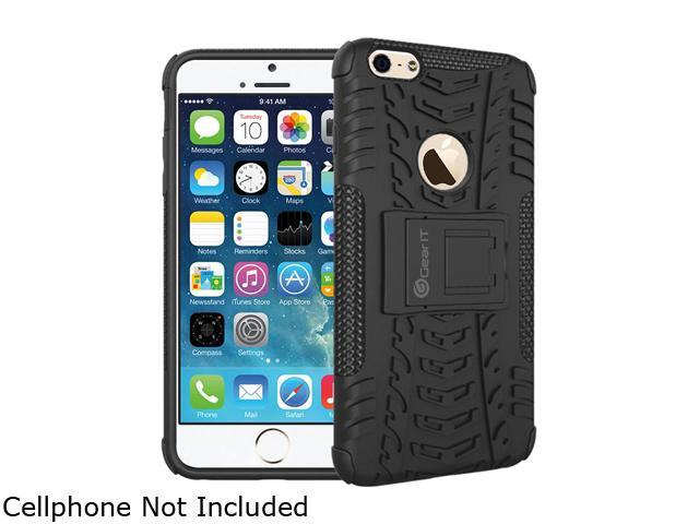 GearIT Black Heavy Duty Armor Hybrid Rugged Stand Case for Apple iPhone 6 5.5