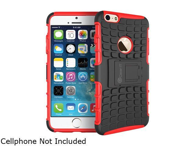 GearIT Red Heavy Duty Armor Hybrid Rugged Stand Case for Apple iPhone 6 5.5