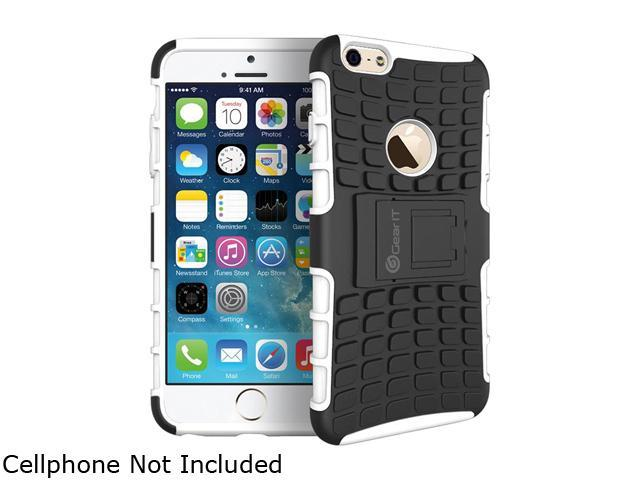 GearIT White Heavy Duty Armor Hybrid Rugged Stand Case for Apple iPhone 6 5.5