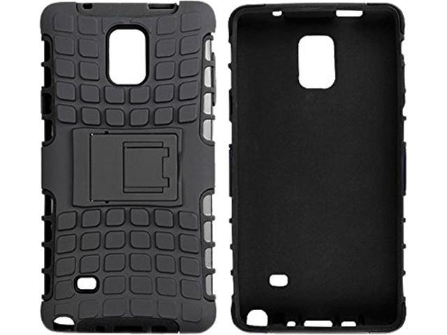 rooCASE Black Heavy Duty Armor Hybrid Rugged Stand Case for Galaxy Note 4 RCNOTE4HYBD9BK