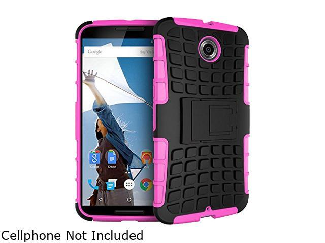 rooCASE Magenta Heavy Duty Armor Hybrid Rugged Stand Case for Google Nexus 6 RCNX6HYBD9MA