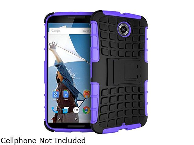 rooCASE Purple Heavy Duty Armor Hybrid Rugged Stand Case for Google Nexus 6 RCNX6HYBD9PR