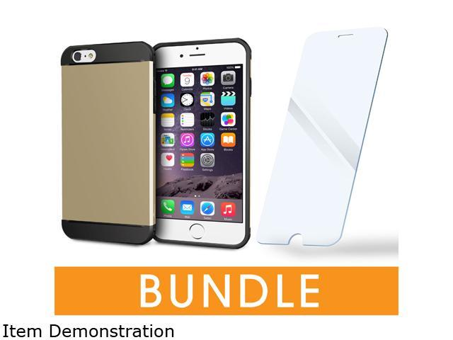rooCASE Apple iPhone 6 / 6S 4.7-inch Bundle, Gold (ET Case + Tempered Glass Screen Protector)