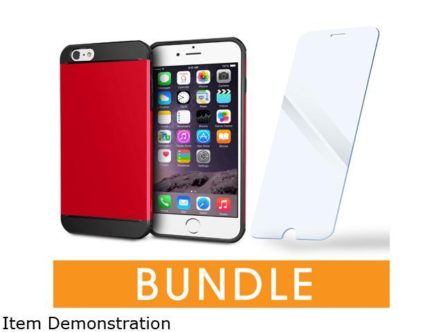 rooCASE Apple iPhone 6 / 6S 4.7-inch Bundle, Red (ET Case + Tempered Glass Screen Protector)