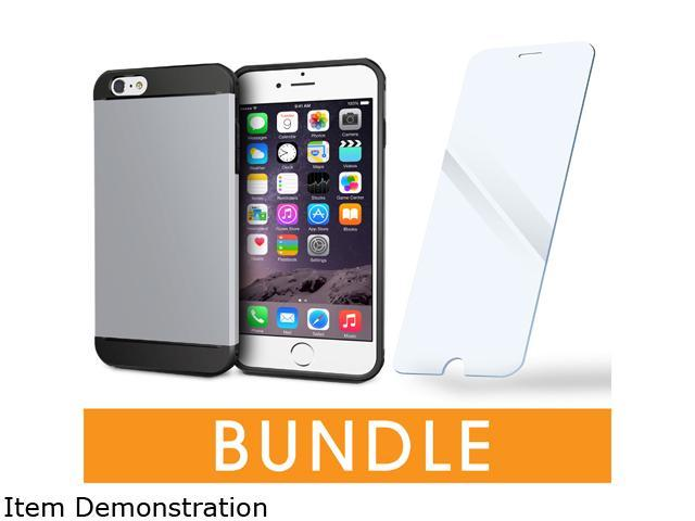 rooCASE Apple iPhone 6 Plus / 6S Plus 5.5-inch Bundle, Silver (ET Case + Tempered Glass Screen Protector)