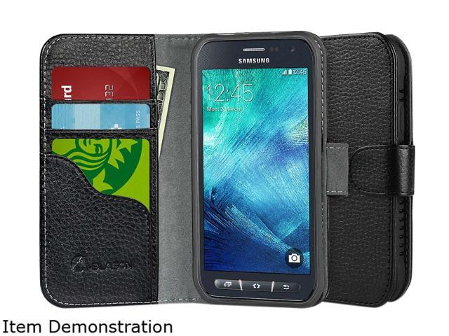 i-Blason Leather Book Black Wallet Case for Galaxy S6 Active GalaxyS6-Active-LeatherBook-Black