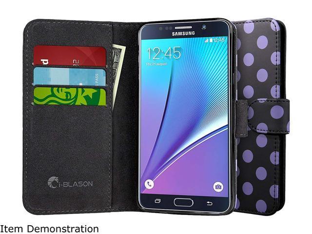 i-Blason Leather Book Dalmatian Black Case for Samsung Galaxy Note 5 Note5-LeatherBook-Dal-Black
