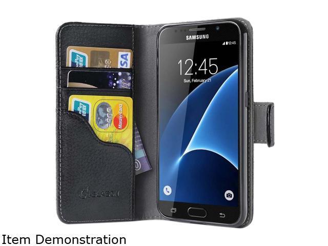 i-Blason Leather Book Black Galaxy S7 Folio Wallet Case GalaxyS7-Leatherbook-Black