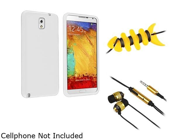 Insten White Silicone Case + Yellow Fishbone Headset Smart Wrap + Gold / Black In-ear (w/ on-off) Stereo Headsets Compatible with Samsung Galaxy Note 3 Note III N90001599466