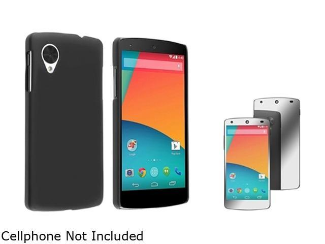 Insten Black Snap-in Rubber Coated Case with Mirror Screen Protector Compatible with LG Nexus 5 D820 1624594