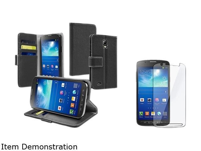 Insten Black Stand Leather Case with Screen Protector Compatible with Samsung Galaxy S4 SIV Active i9295 1624622