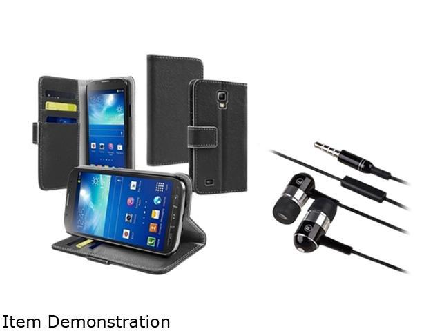 Insten Black Stand Leather Case with Chrome Silver In-ear (w/ on-off) Stereo Headsets for Galaxy S4 Active i9295 1624623