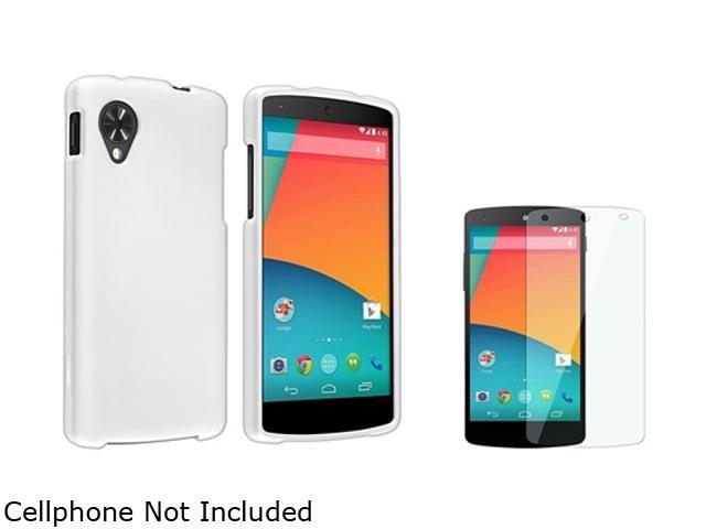Insten White Snap-in Hard Rubber Case with Screen Protector Compatible with LG Nexus 5 D820 / D821 1646065