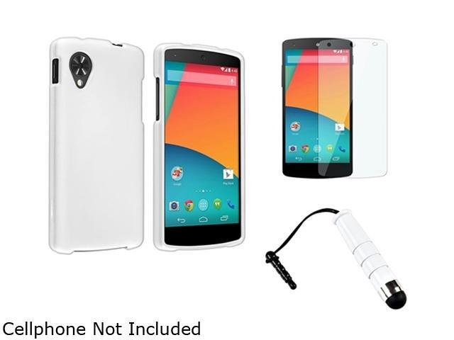 Insten White Snap-in Hard Rubber Case with LCD Cover + Stylus Pen Compatible with LG Nexus 5 D820 / D821 1646071