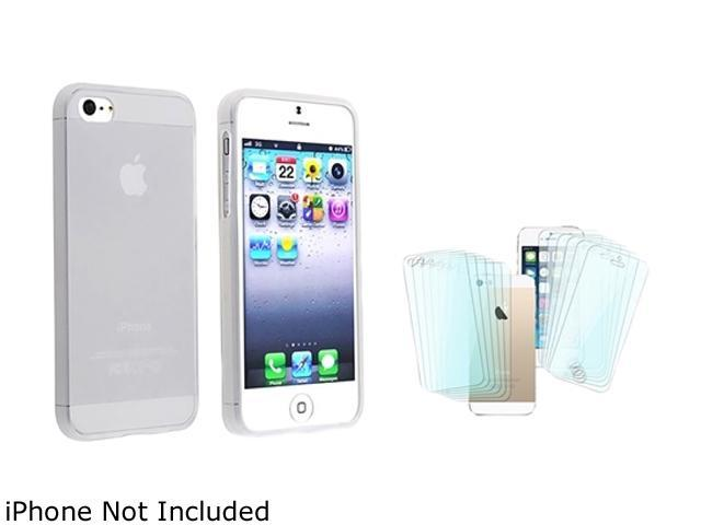 Insten Frost Clear White TPU Case with 6-Pack Front / Back Screen Protector Compatible with Apple iPhone 5 / 5S 1666533