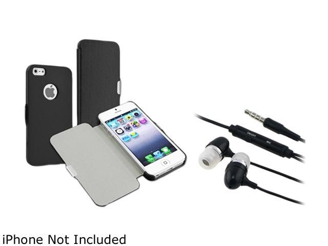 Insten Black Snap-in Leather with Magnetic Flap Case with In-ear w/ on-off Stereo Headsets for iPhone 5 / 5S 1664633