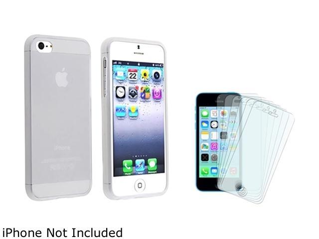 Insten Frost Clear White TPU Case with 6-Pack Anti-Glare Screen Protector Compatible with Apple iPhone 5 / 5S 1664658