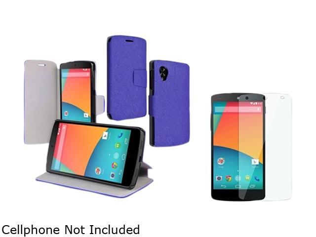 Insten Navy Blue Leather Case with Screen Protector Compatible with LG Nexus 5 D820 / D821 1671030