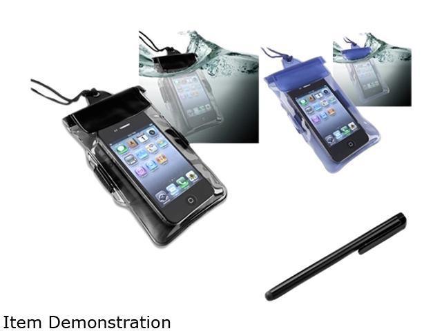 Insten Blue and Black 2 in1 Waterproof Bag Case with Black Stylus Compatible with Apple iPhone 4 / 4S / 5 / 5S 1412439