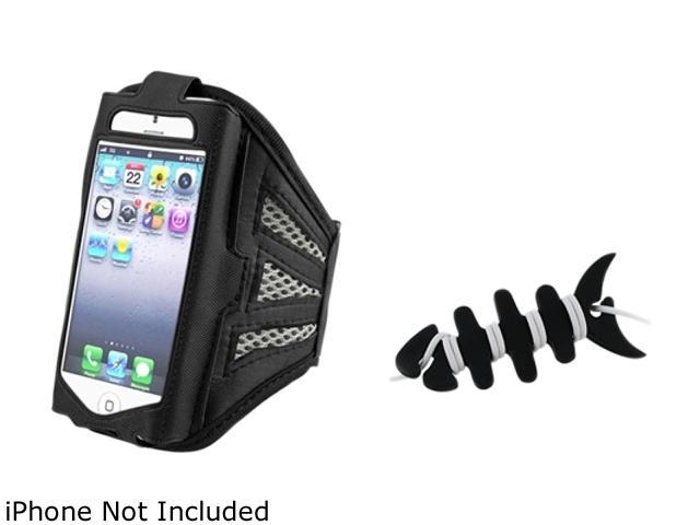 Insten Black/Silver Sports ArmBand Case with Black Fishbone Headset Smart Wrap for Apple iPhone 5 / 5S / 5C 1412441