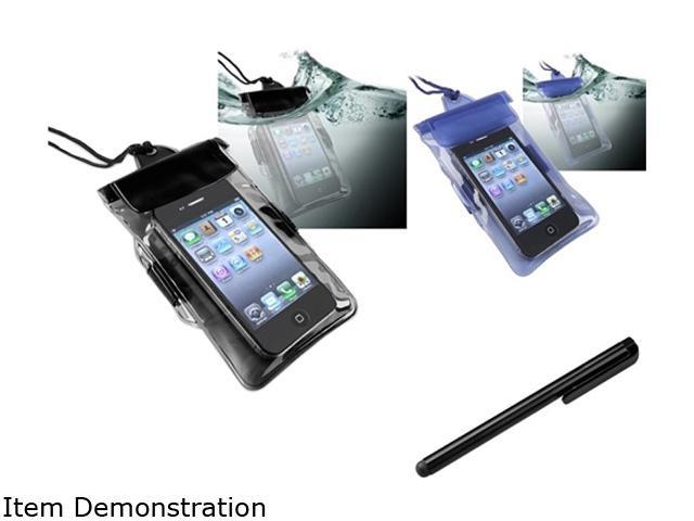Insten 2x Black Blue Waterproof Case + Black Screen Stylus Pen For Samsung Galaxy S II i9100 Attain 1458086