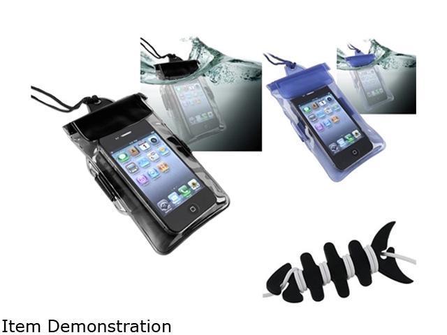 Insten 2x Black Blue Waterproof Bag Case + Fishbone Wrap Compatible with Samsung Galaxy S II i9100 1458091