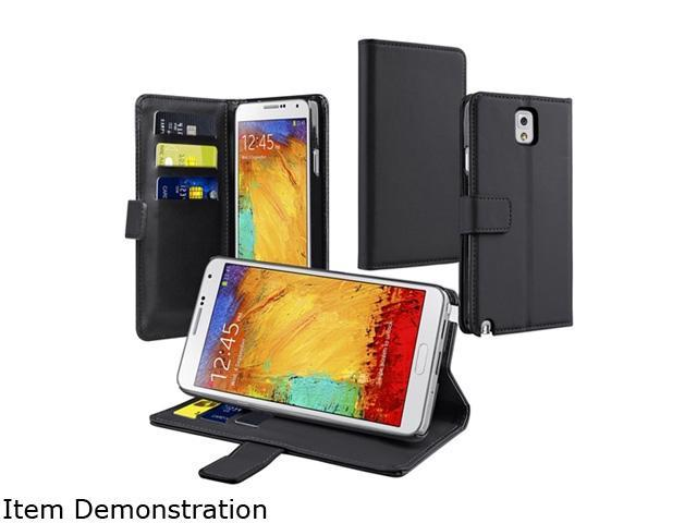 Insten Black Stand Leather Case with Card Slot Compatible with Samsung Galaxy Note N9000 1458043