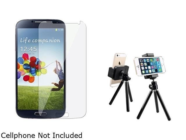Insten Black Tripod Phone Holder with Reusable Screen Protector Compatible with Samsung Galaxy S4 i9500 1457818