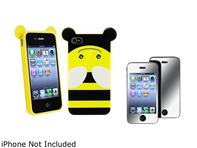 Insten Multiple Bee TPU Rubber Case with Mirror Screen Protector Compatible with Apple iPhone 4 / 4S 1475194