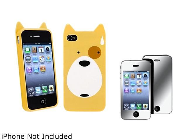 Insten Multiple Dog TPU Rubber Case with Mirror Screen Protector Compatible with Apple iPhone 4 / 4S 1475212