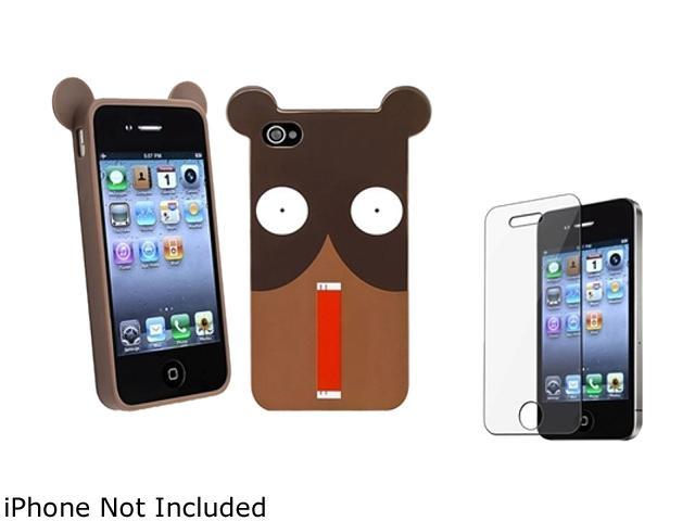 Insten Multiple Shocking Bear TPU Rubber Case with Reusable Screen Protector Compatible with Apple iPhone 4 / 4S 1475228