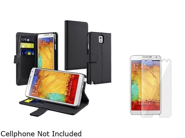 Insten Black Stand Leather with Card Slot Case + Screen Protector for Galaxy Note 3 N9000 1496890