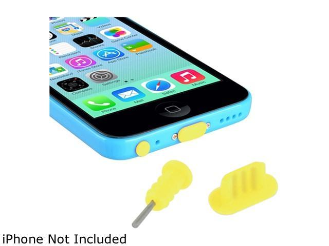 Insten Yellow Headset Dust Cap with SIM Card Eject Pin & Charging Dock Port Plug compatible with iPhone 5/ 5S/ 5C 1530377