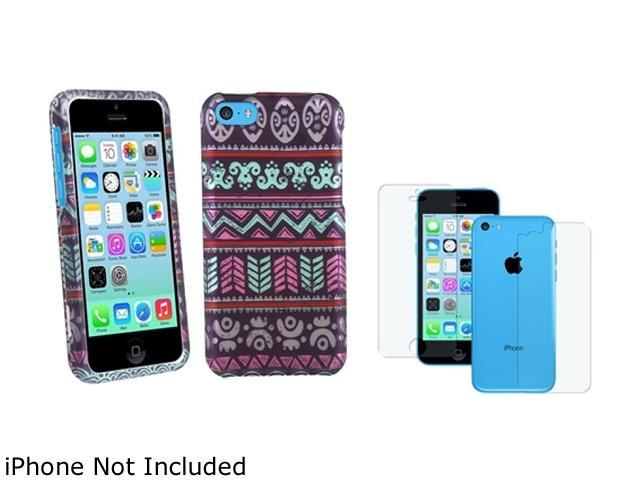 Insten Multiple Elegant Aztec Hard Rubber Coated Case with 2 LCD Kit (Front & Back) Anti-Glare Screen Shield for iPhone 5C ...