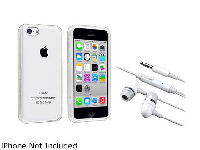 Insten Clear Hard Slim Case with White In-ear (w/on-off) Headset Compatible with Apple iPhone 5C 1530166