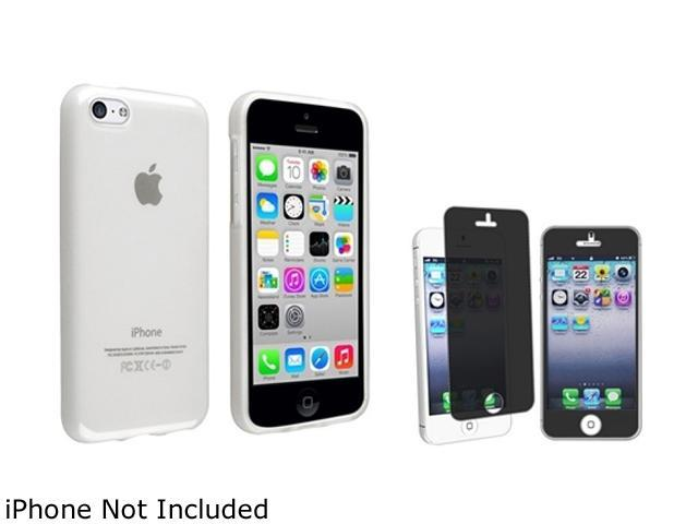 Insten Frost Clear TPU Rubber Case with Privacy Screen Shield Compatible with Apple iPhone 5C 1530200