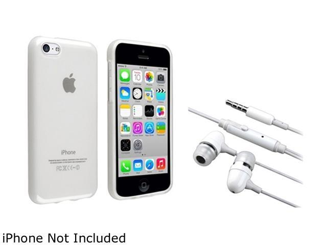 Insten Frost Clear TPU Rubber Case with White In-ear (w/on-off) Headset Compatible with Apple iPhone 5C 1530206